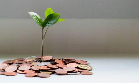 Úspora peněz symbolizovaná drobnými mincemi.